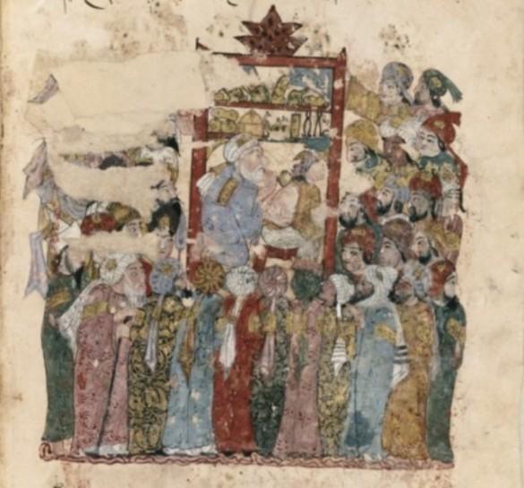 """Al-Wâsitî - Abû Zayd pratica la medicina, miniatura dal """"Maqâmât"""" di Al-Harîrî. Iraq, 1236-1237 - Parigi, BnF."""